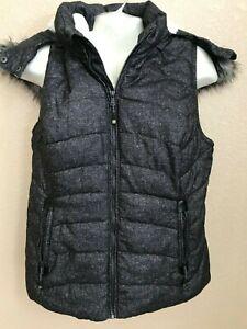 EUC Green Tea Sleeveless Vest Women Large Heather Gray Fur Lined Removable Hood