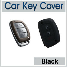Silicone Case Cover SMART Key Hyundai IX35 IX45 I40 Elantra Accent SantaFe-BLACK