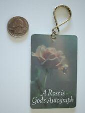 Vtg 1982 Paula's Keyrings Rose Is God's Autograph Hard Plastic Key Chain #20667