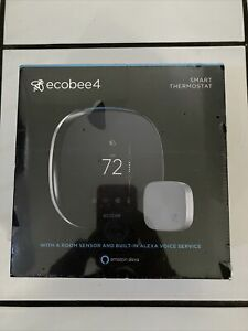 Ecobee4 Wi-Fi Thermostat with Room Sensor and Built-In Alexa Black NEW