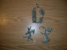 3 Pewter Figurines Wizard and Dragon