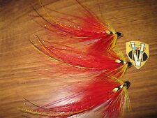3 V Fly 1 inch Red Francis Flamethrower Conehead Salmon Tube Flies & Trebles