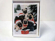 New Pug Dog Holiday Greeting Cards 6 Note Cards & 6 Envelopes Pugs By Ruth