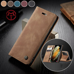 For Samsung Galaxy S20 S21 Ultra S10 S9 Plus Leather Magnetic Wallet Case Cover