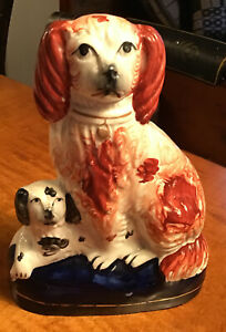 """Antique Staffordshire Pair Spaniel Dogs Cobalt Base 6 1/4"""" Tall Marked 968"""