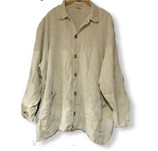 CP Shades Textured Button Linen Lagenlook Tunic ToP Cardigan L