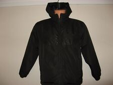HARDLY WORN BOYS BLACK PUFFA STYLE QUILTED AIRWALK HOODED JACKET COAT AGE 12-13