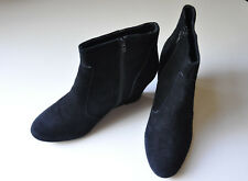 CREATION by LA REDOUTE Black Real Suede Wedge Ankle Boots  40 Fr 6 - 6.5 UK
