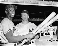 Mickey Mantle Ernie Banks Photo 8X10 - Yankees Cubs 1956 All Star Game