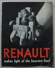 RENAULT 10 CWT VAN, 15 CWT VAN & ESTATE CAR Sales Brochure For 1939