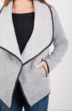 NEW Cupcakes and Cashmere Size S Sidney Knit Sweater Jacket Gray Wool