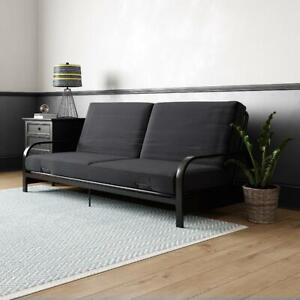 Full Size Futon Sleeper Sofa Bed Metal Frame And Mattress Set Convertible Couch