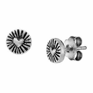 81stgeneration .999 Fine Silver Hill Tribe 5 mm Round Heart Stud Earrings