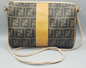 VINTAGE FENDI ZUCCA FF COATED CANVAS LEATHER  TAN BROWN CROSSBODY