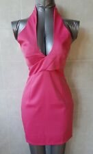 Angel Biba Pink Bodycon Mini Dress with Crossover Halter Neck Top, Size 8 - NWT