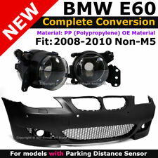 BMW E60 5-Series 08-10 With PDC M5 Style Front Bumper Cover + Clear Fog Lights
