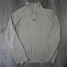 Vintage Mens Henri Lloyd 1/4 Button Knitted Pullover Jumper Sailing XL Beige