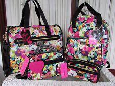 Betsey Johnson Floral Weekender Backpack Cosmetic Set Travel Bag 5 pcs NWT