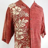 TOMMY BAHAMA 100% SILK FLORAL RED BUTTON DOWN HAWAIIAN SHIRT ALOHA MENS XL RELAX