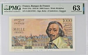 FRANCE 1000 FRANCS 1956 PICK 134a PMG 63 CHOICE UNC NO RESERVE