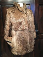 """VINTAGE 1980's FRENCH RABBIT FUR SHORT CLASSIC JACKET- BUST 40""""  STAND COLLAR"""