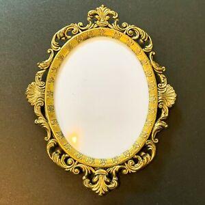 Convex Glass Sm Oval Photo Frame: 13x10cm Ornate Italian Brass-Tone, Wall Hang