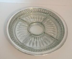 """W. S. Co Silver Plated Serving Tray  13"""" Crystal Divided Insert Pierced"""