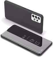 Coque Etui Rabat Miroir Noir pour Samsung A72 5G/4G + Verre Trempe Little Bouti