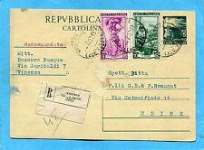 £.15 (C141) + LAVORO £.10 e £.30 ann.VICENZA, 12.02.52 + etichetta RACC.(220625)