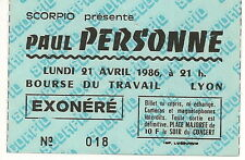 PAUL PERSONNE - Used Concert Ticket 1986 Lyon, France / Rare!