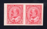 Canada Sc #90A (1903) 2c King Edward VII Imperf Pair VF NH