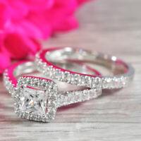 1.50 Ct Princess Cut Diamond 14K White Gold Finish Engagement Bridal Ring Set