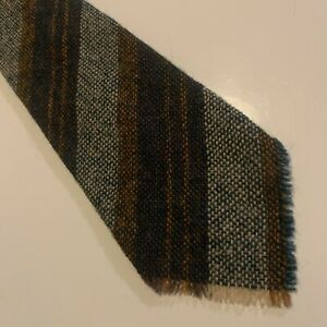 Unbranded Mens Wool Tie - White Green Brown And Orange Stripe