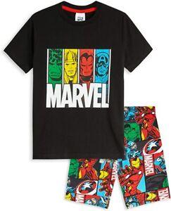 Marvel Boys Teenagers 2 Piece Short Pyjamas, Iron Man Captain America Hulk Thor