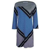 Diane Von Furstenberg Silk Women's Size 4 Jersey Shift Dress 3/4 Sleeve Striped