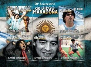 Diego Maradona 50. anniversary football soccer St. Tome m/s MNH #10ST10208a
