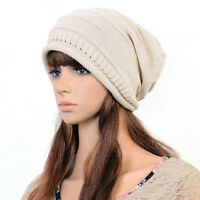 Unisex Ladies Women Knitted Winter Warm Ski Slouch Oversized Knit Beanie Cap Hat