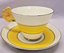 Royal Paragon Art Deco Tea Cup Saucer Double Flower Handle Conical England