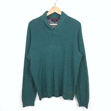 Ted Baker Men green cotton shawl collar pullover long sleeve sweater 5/XL. B331