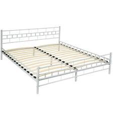 Lit en métal design double 2 places cadre de lit sommier lattes 180x200cm Blanc