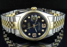 Mens Rolex Datejust 2 Tone 18K/Steel Fluted Bezel 36MM Black Dial Diamond Watch