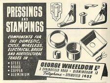 1953 George Wheeldon Springfield Rd B'ham Pressings Ad