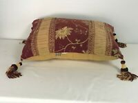 """Stratford Home 18"""" x 12"""" Decorative Floral and Fringe Pillow"""