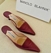 MANOLO BLAHNIK BROWN LEATHER KITTEN HEEL PUMPS SLIDES SANDALS SHOES 39.5 9.5
