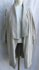 Eileen Fisher Organic Cotton Womans Knit Open Cardigan Sweater 3/4 Sleeve Beige