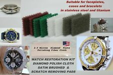 LOT OF 8 WATCH RESTORATION KIT SATIN BRUSHED  PADS + 1 POLISHING CLOTH