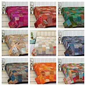 Indian Kantha Patchwork Quilt King/Twin Size Silk Blanket Bohemian Bedspread