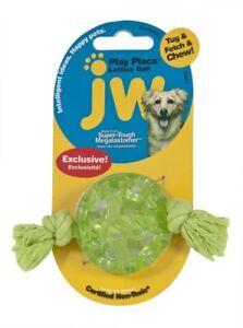 JW Pet Lattice Ball Super Tough Megalastomer Tug Fetch Chew Dog Toy Mini