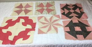 Seven Antique Vintage Patchwork Quilt Blocks, Early 1900's, Various, Pink, Black