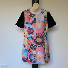 'FINDERS KEEPERS' EC SIZE 'M' BLACK FLORAL SHORT SLEEVE LINED DRESS